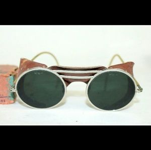 Antique WILLSON Leather Shield Green Sunglasses